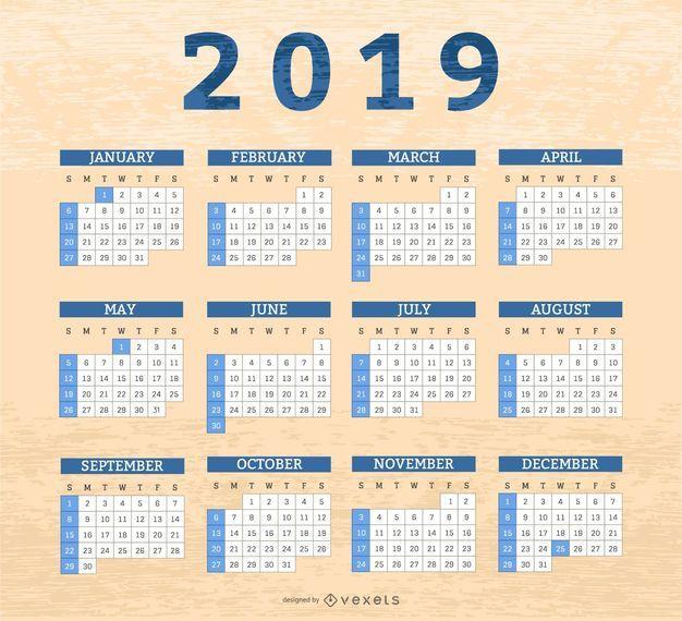 Design de calendário de caixas de fronteira 2019