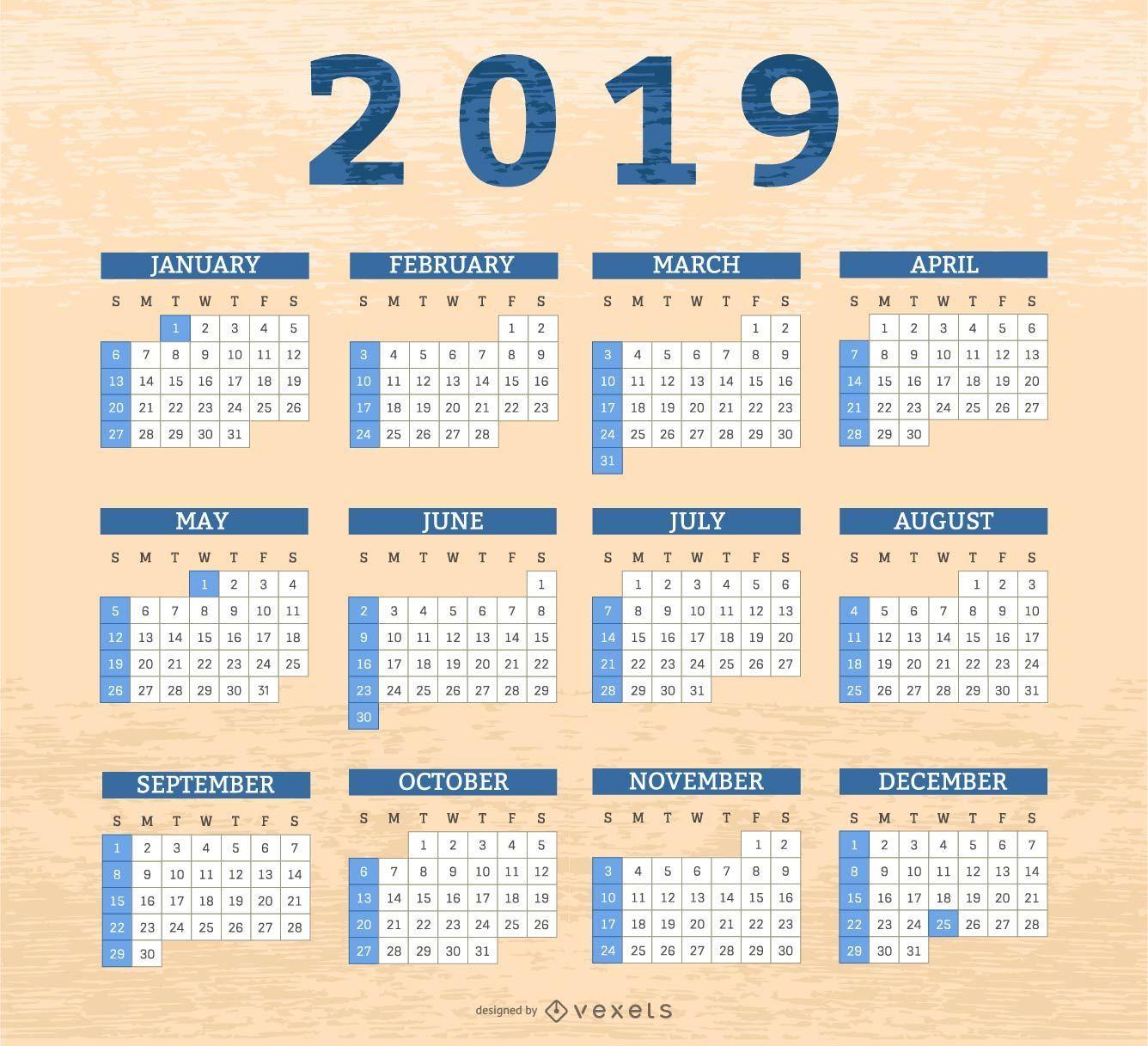 Border boxes 2019 calendar design