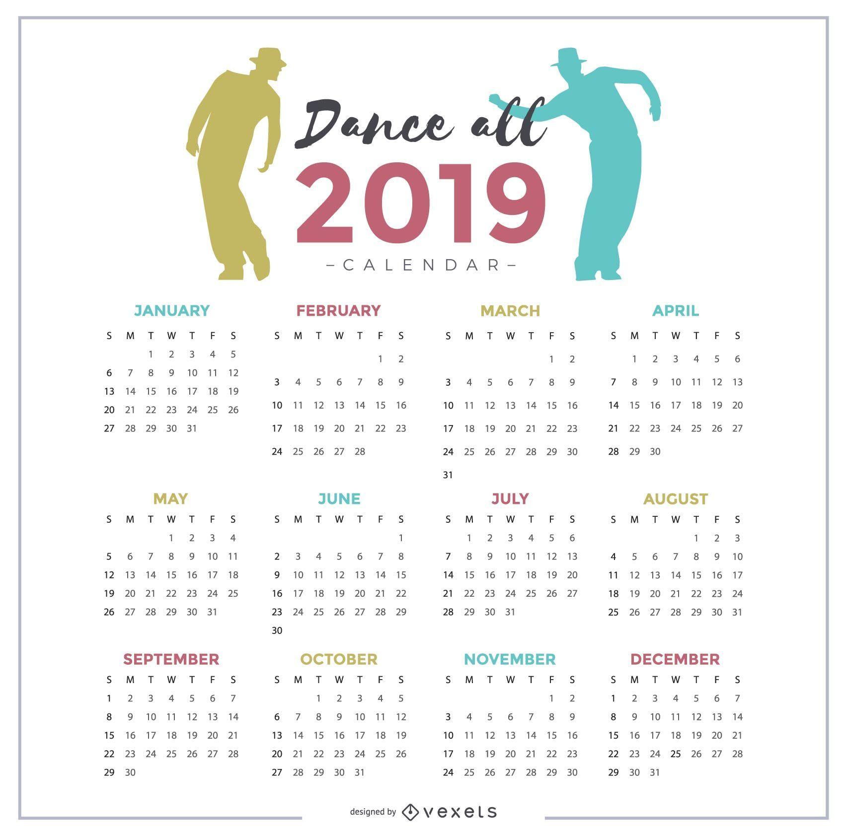Dance All 2019 Calendar Design