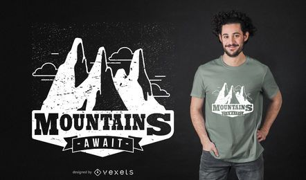 Diseño de camiseta de montañas aguardando