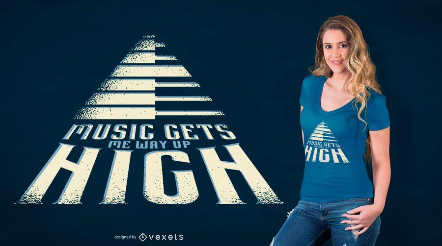Diseño de la camiseta de la cita de la música