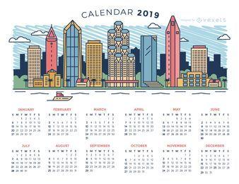 Diseño de calendario City Skyline 2019
