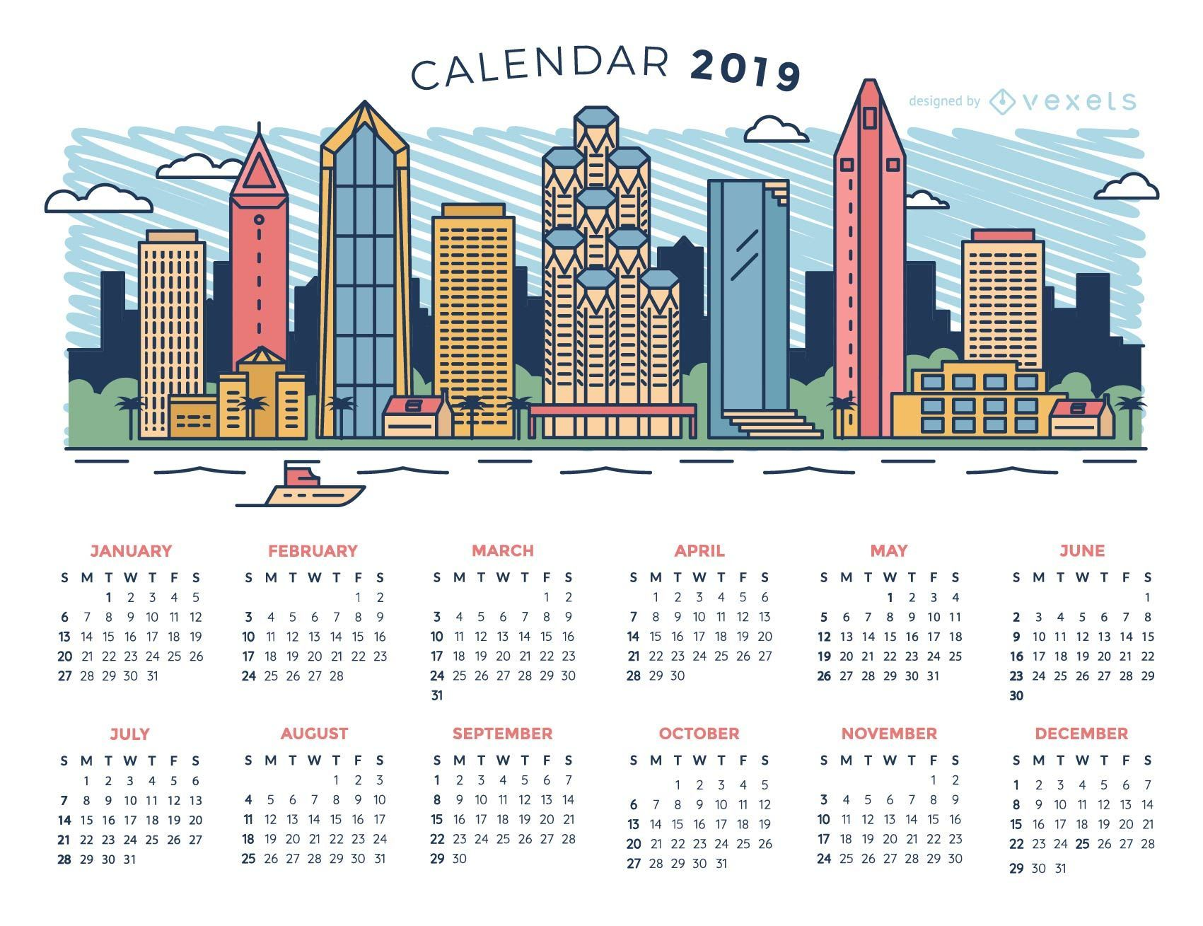 City Skyline 2019 Calendar Design