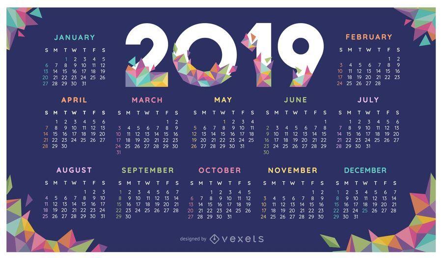 Diseño geométrico colorido del calendario 2019