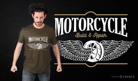 Diseño de camiseta de construcción y reparación de motos