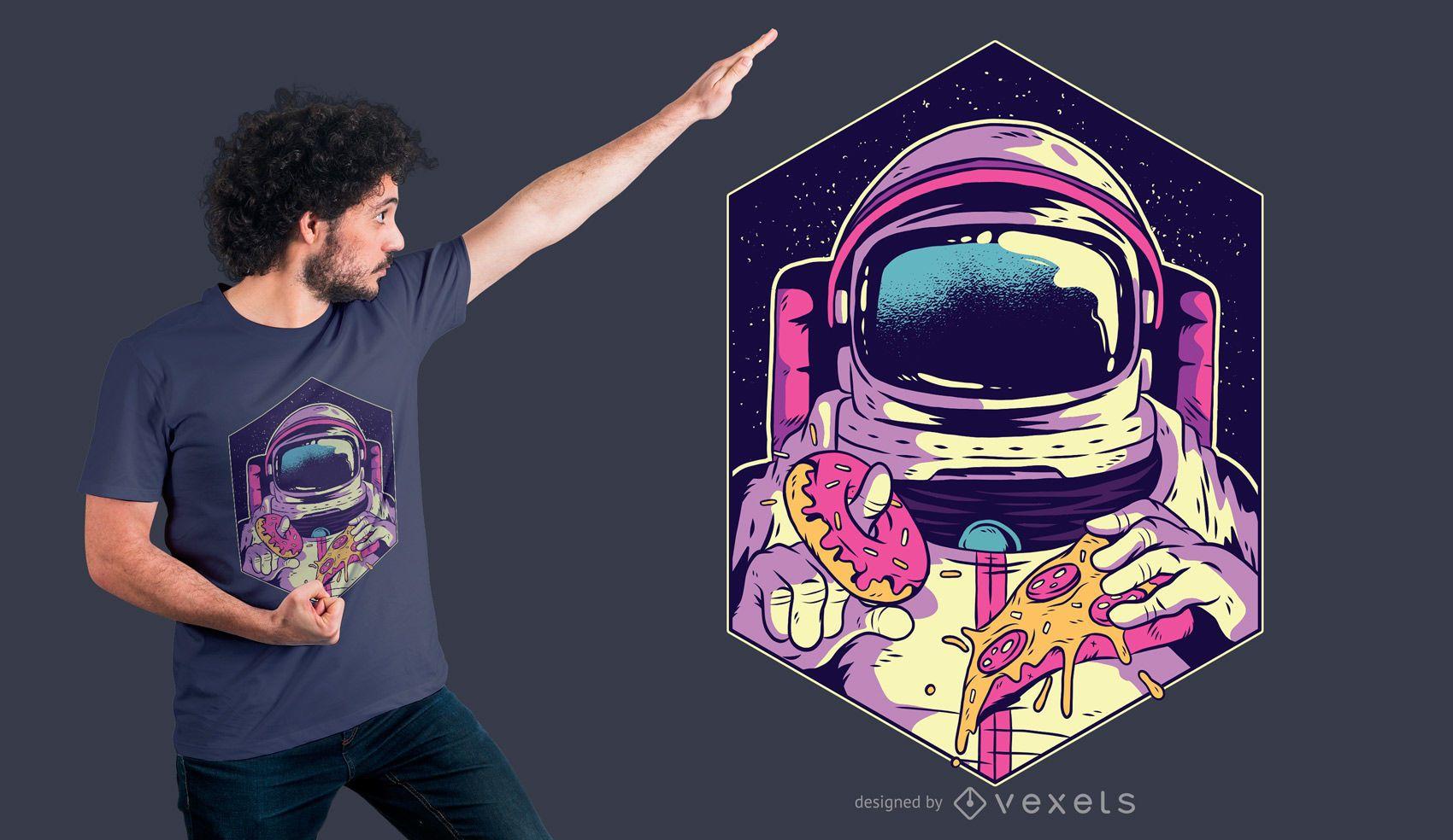 Astronauta comendo rosquinha e pizza design de camiseta