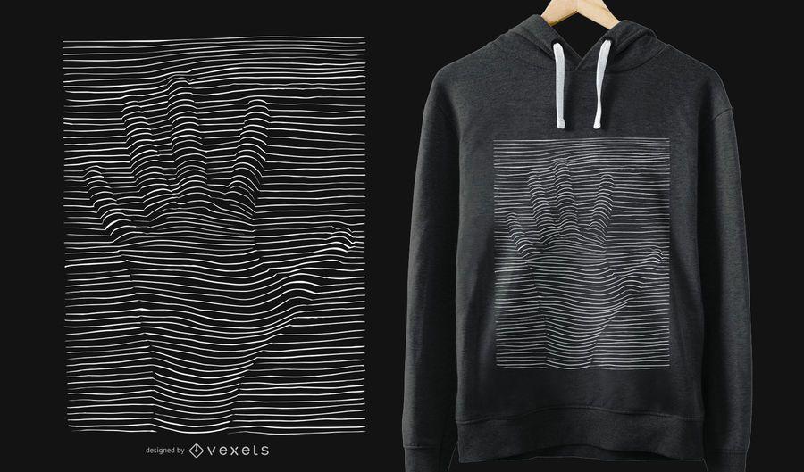 Diseño de camiseta de ilusión óptica