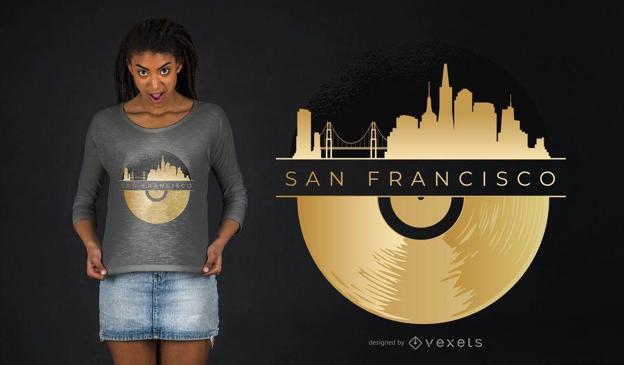 Projeto do t-shirt do registro de vinil da skyline de San Francisco