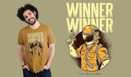 Vencedor, vencedor, armado, personagem, t-shirt, desenho