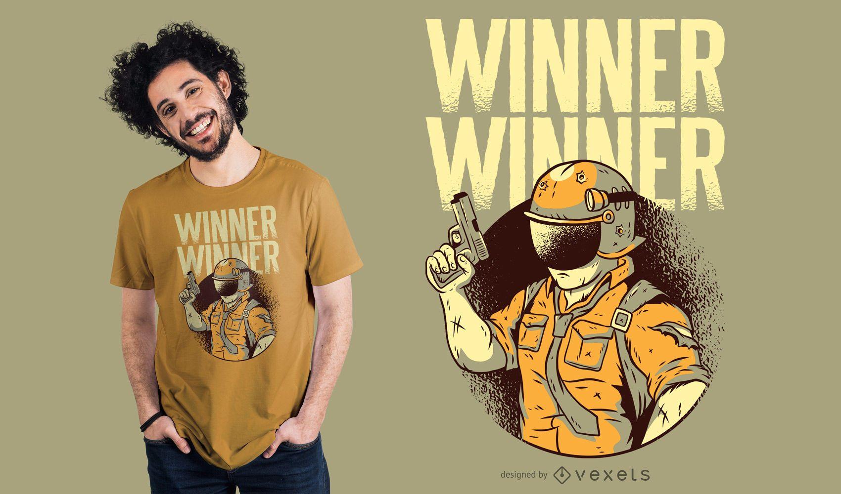 Diseño de camiseta de personaje armado ganador ganador
