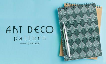 Patrón Art Deco geométrico azul transparente