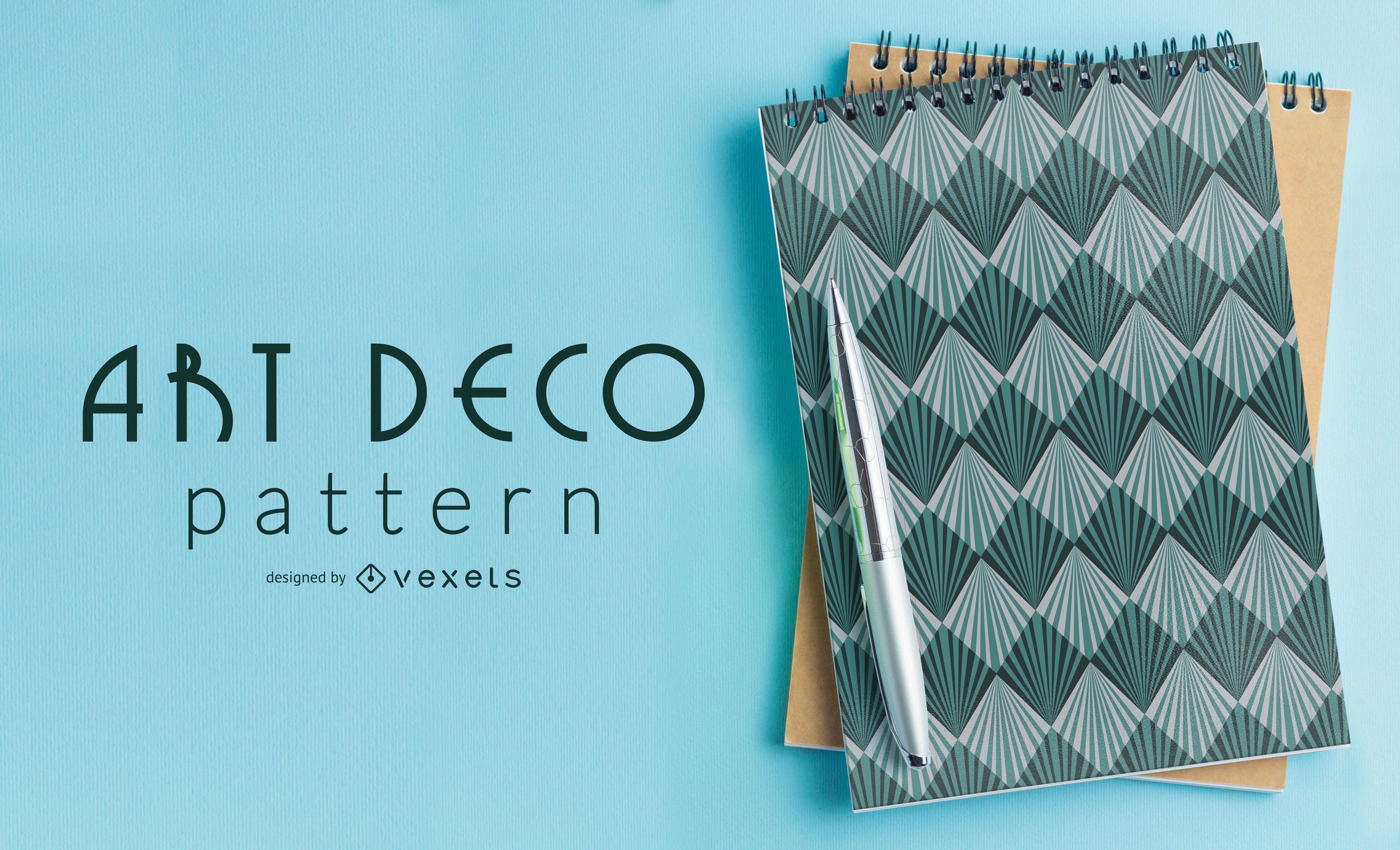 Seamless Blue Geometric Art Deco Pattern