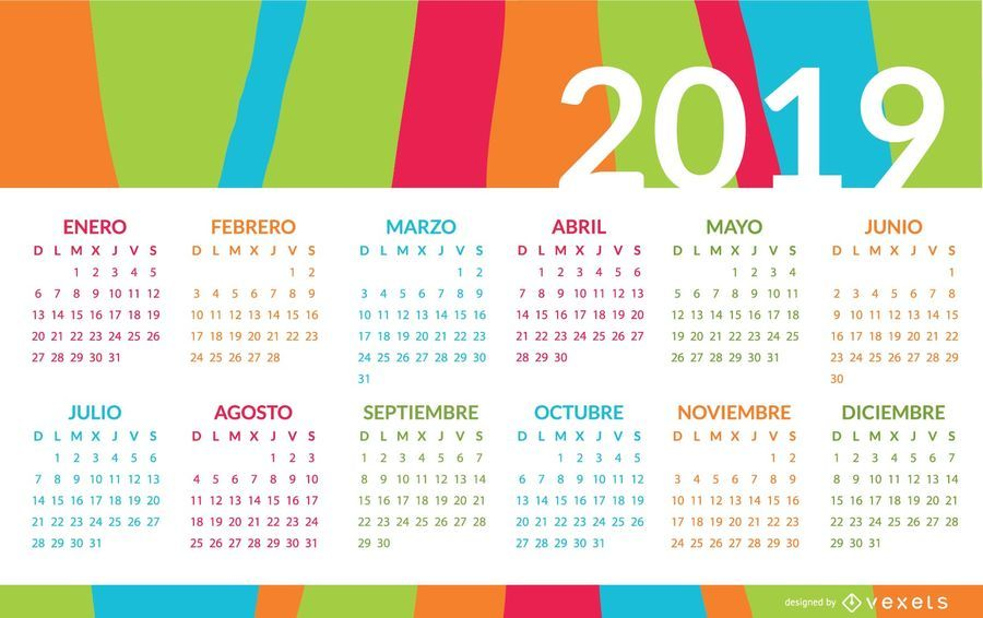 Calendario Julio 2019 Vector.Colorful Spanish Calendar Design Vector Download