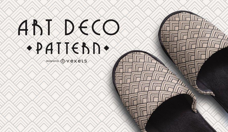 Seamless Black and White Geometric Art Deco Pattern