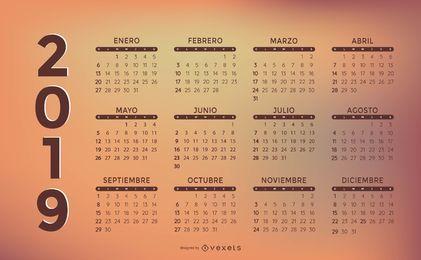 Projeto elegante do calendário de 2019 espanhóis