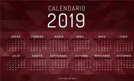 Diseño del calendario geométrico español 2019