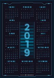 Technology Spanish 2019 Calendar Design
