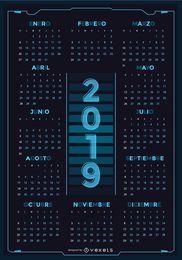 Tecnología español 2019 calendario diseño