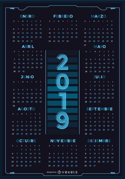 Technology Spanish 2019 Calendar Design