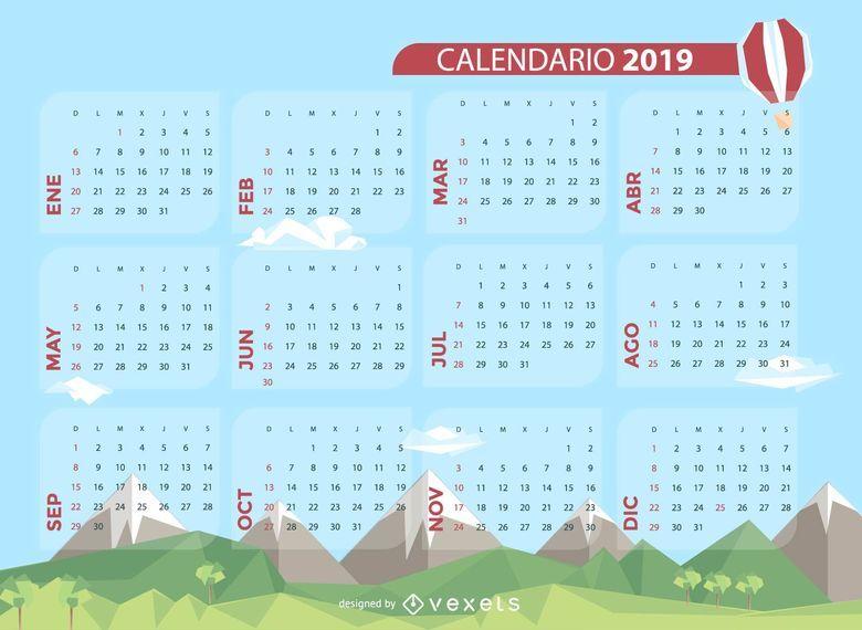 Projeto espanhol do calendário de 2019 da paisagem