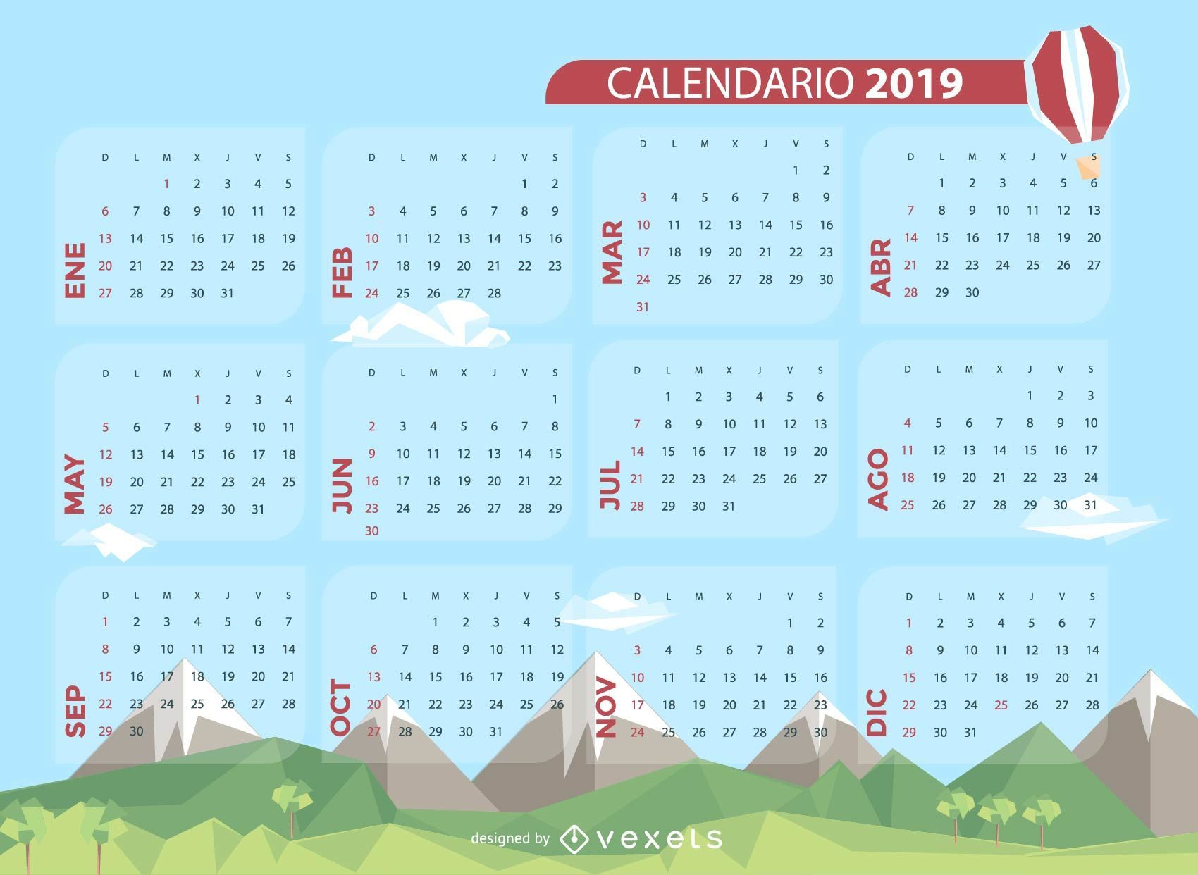 Landscape Spanish 2019 Calendar Design