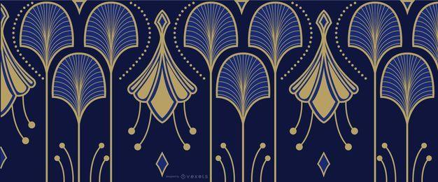Elegante art deco azul y dorado