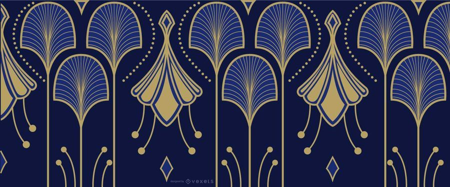 Elegantes Blau und Gold Art Deco