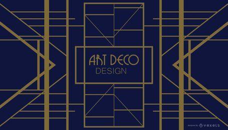 Design Art Deco Geométrico Azul e Dourado
