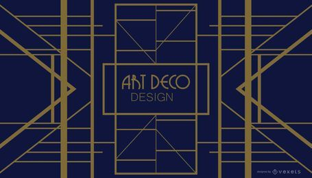 Diseño Art Deco geométrico azul y dorado