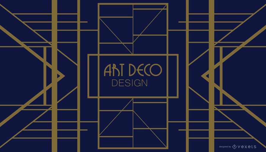 Blue and Golden Geometric Art Deco Design