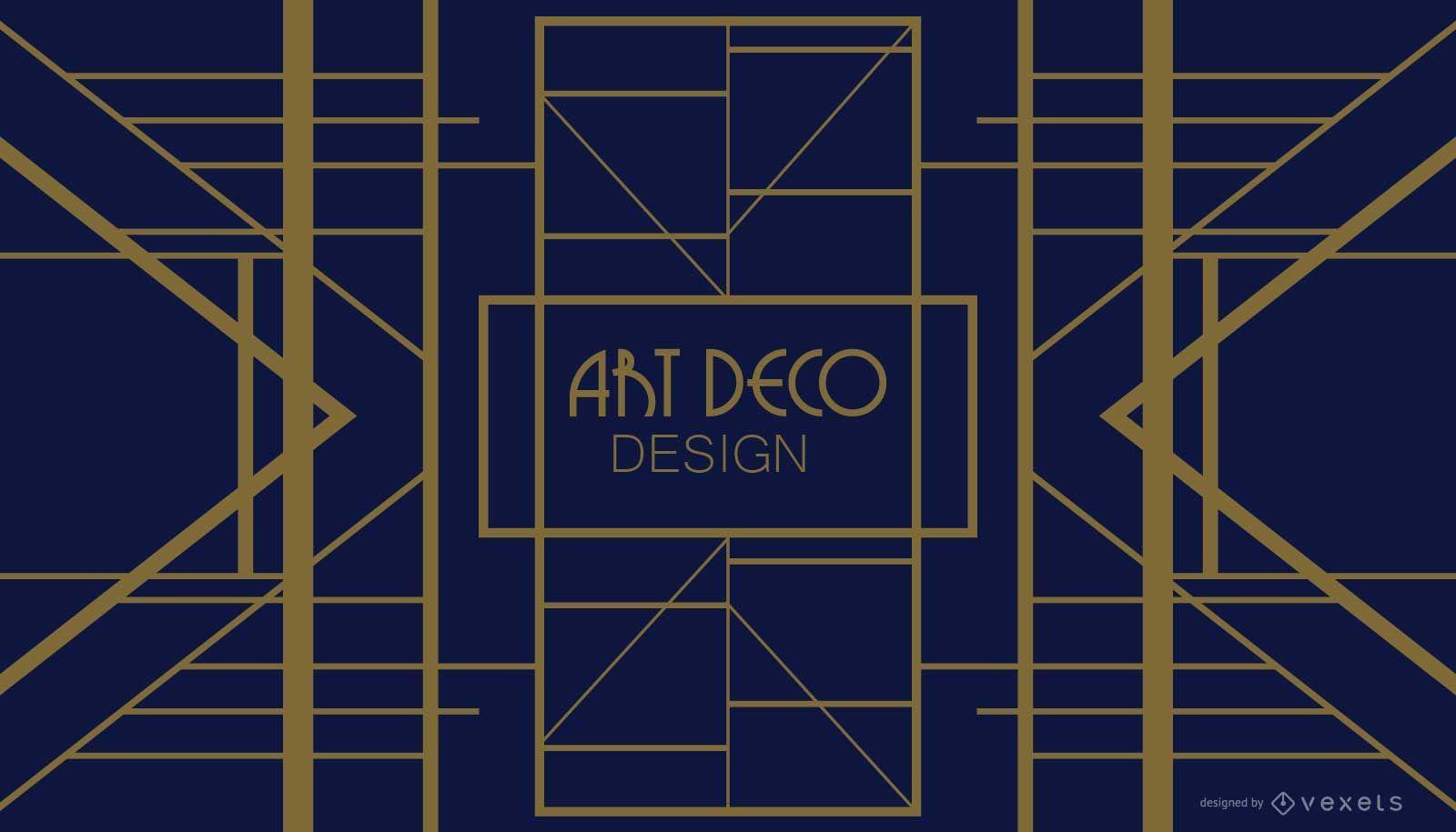 Blue and Golden Geometric Art Deco Design