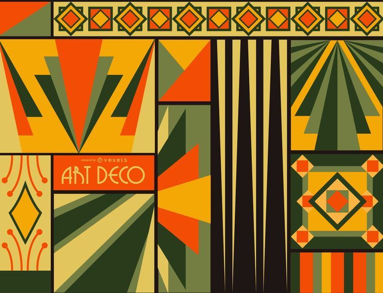Colorful Art Deco Background