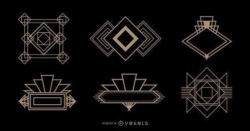 Conjunto Art Deco con logotipo de diamantes
