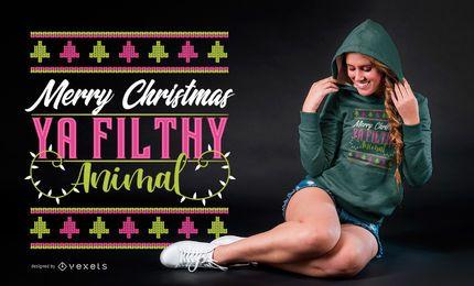 Feliz Navidad Ya Filthy Animal Diseño de camiseta