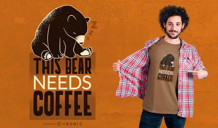 Diseño de la camiseta del oso del café