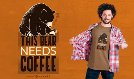Diseño de camiseta de Coffee Bear