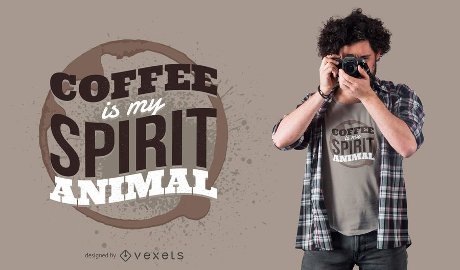 Design animal do t-shirt do espírito do café