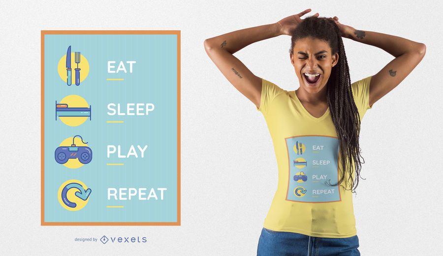 Diseño divertido de la camiseta del juego