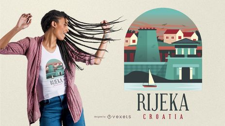 Projeto do t-shirt de Rijeka Croatia