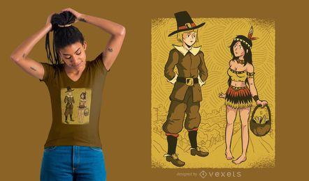 Diseño de camiseta de peregrino y nativo.