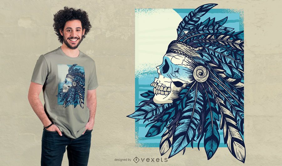 Diseño de camiseta cráneo nativo