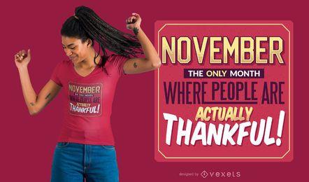 Projeto do t-shirt das citações de novembro