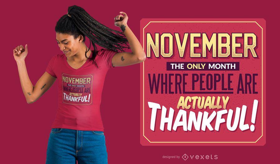 Cita de noviembre de diseño de camiseta