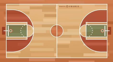 Ilustración de la cancha de baloncesto