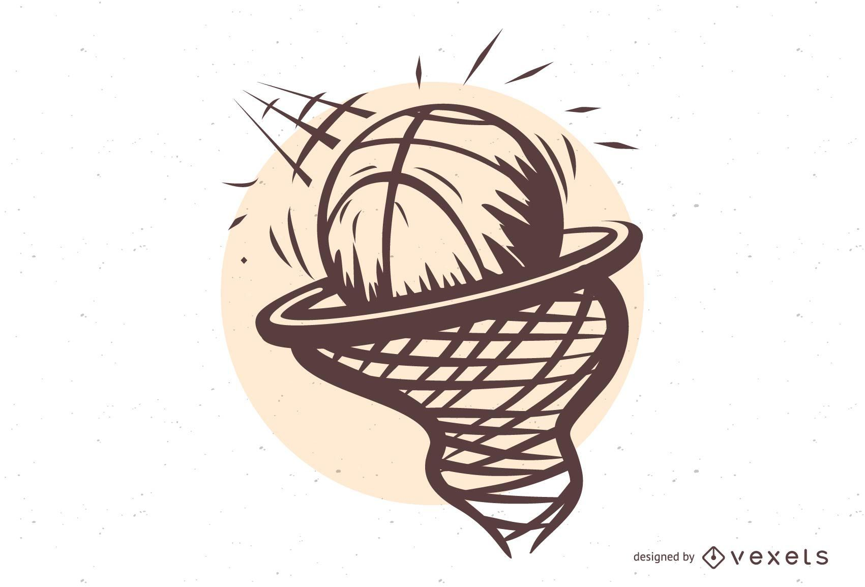 Basketball in the Hoop Illustration