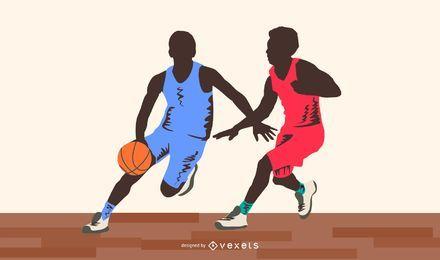 Jogadores de basquete silhoutte