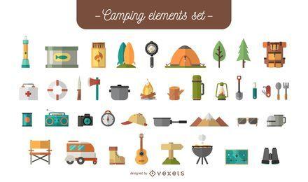 Conjunto de elementos de acampamento plana