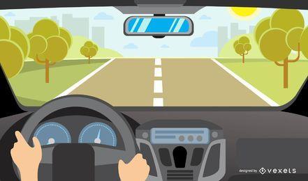 Condução de carro e ilustração da paisagem