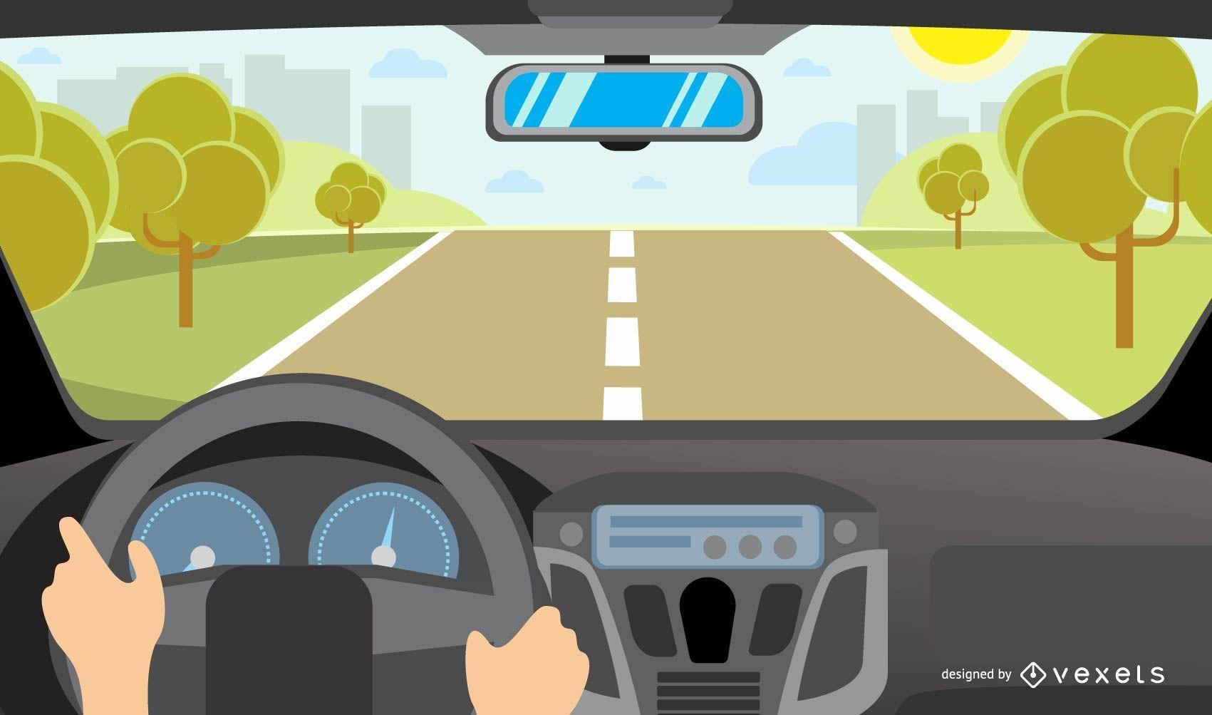 Ilustración de paisaje y conducción de automóviles