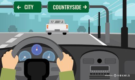 Condução de ilustração de paisagem de estrada